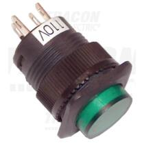 Mini jelzőlámpás nyomógomb, zöld 1×NO, 110V AC/DC